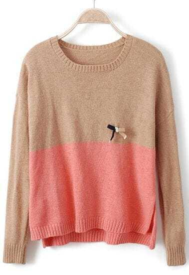 Camel Pink Long Sleeve Bow Embellished Sweater