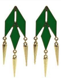 Green Geometric Gold Spike Stud Earrings