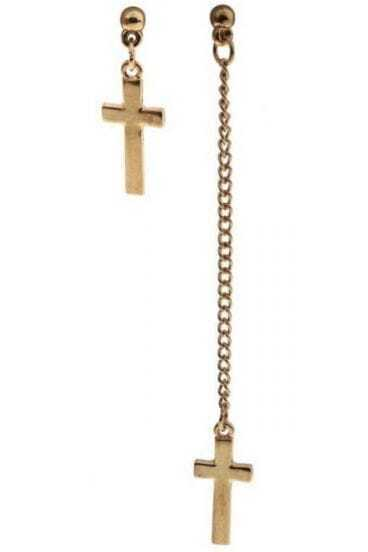 Gold Cross Chain Stud Earrings