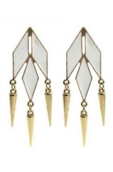 White Geometric Gold Spike Stud Earrings