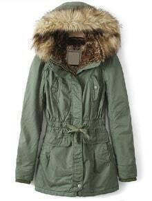 Green Fur Hooded Drawstring Waist Pockets Coat