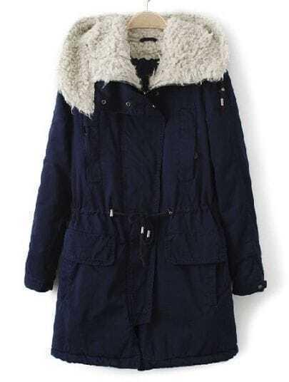 Navy Hooded Long Sleeve Zipper Drawstring Coat