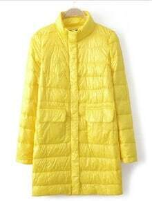 Yellow High Neck Long Sleeve Pockets Down Coat