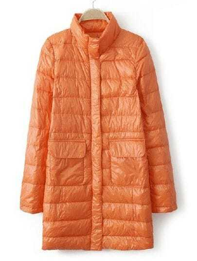 Orange High Neck Long Sleeve Pockets Down Coat