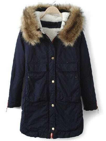 Navy Fur Hooded Long Sleeve Zipper Pockets Coat