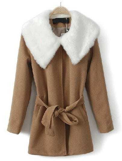Camel Fur Lapel Long Sleeve Drawstring Waist Coat