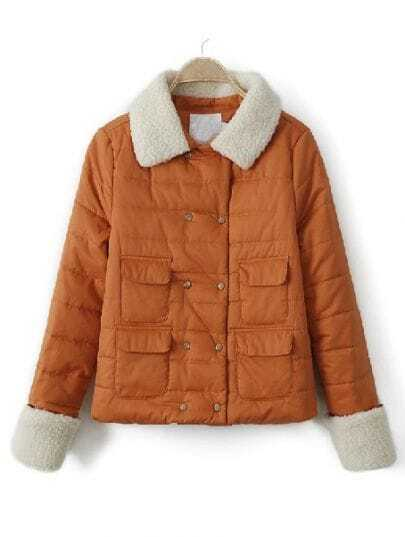 Orange Fur Lapel Long Sleeve Pockets Buttons Coat