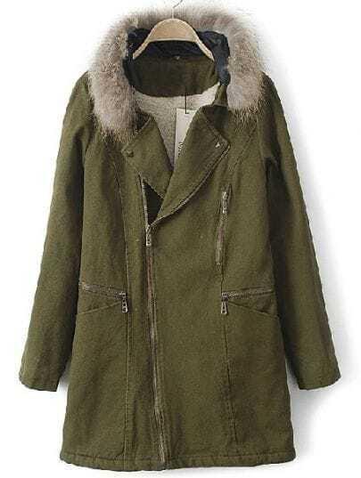 Green Fur Hooded Zipper Rivet Pockets Coat