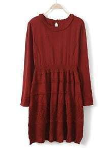 Red Long Sleeve Hollow Embroidery Sweater Dress