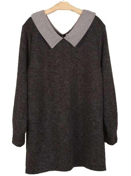 black lapel long sleeve loose sweater dress sheinsheinside