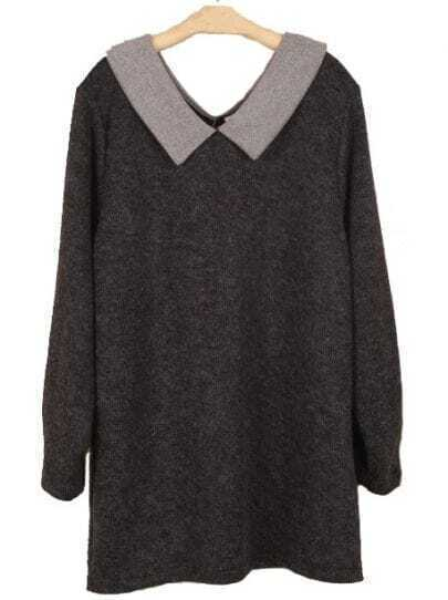 Black Lapel Long Sleeve Loose Sweater Dress