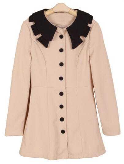 Apricot Contrast Lapel Long Sleeve Buttons Dress