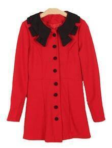 Red Contrast Lapel Long Sleeve Buttons Dress