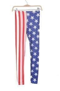 Blue and White United States Flag Print Legging