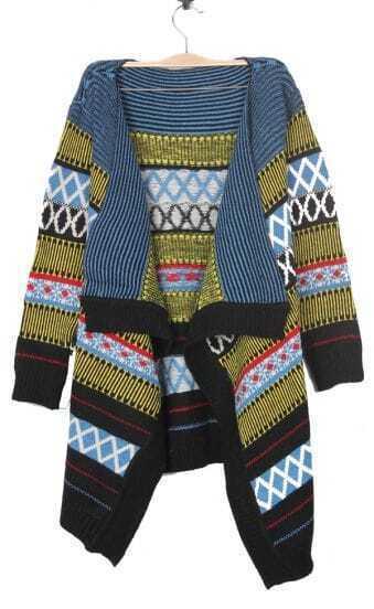 Yellow Geometric Tribal Pattern Draped Collar Cardigan Sweater