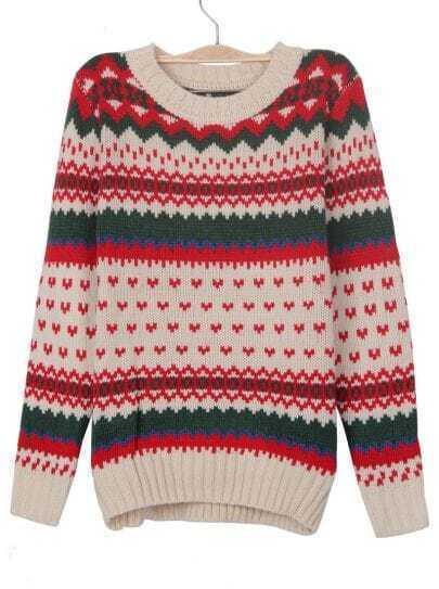 Apricot Zigzag Striped Geometric Pattern Jumper Sweater