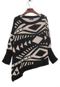Black Geometric Pattern Batwing Sleeve Irregular Hem Sweater