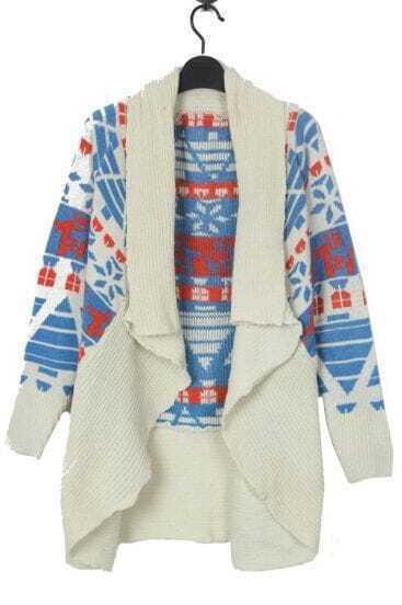 Blue Deer and Snowflake Geometric Pattern Open Cardigan Sweater
