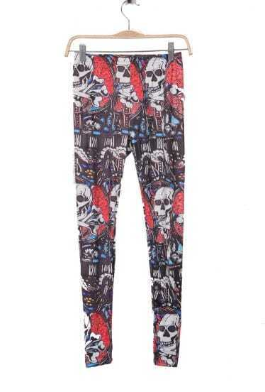 Black and Red Skull Abstract Print Legging