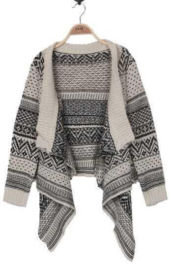 Black and Beige Striped Tribal Asymmetric Hem Cardigan Sweater