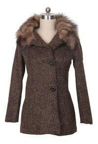 Khaki Detachable Fur Collar Tweed Winter Coat