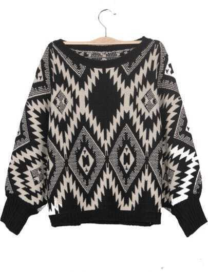 Black Geometric Tribal Pattern Batwing Sleeve Sweater