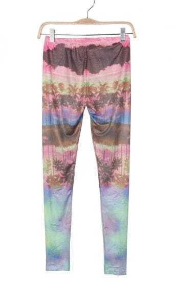 Pink Palm Trees and Sunset Glow Print Legging