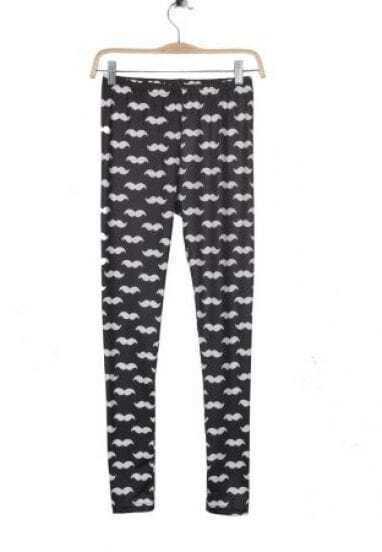 Black Mustache Print Legging