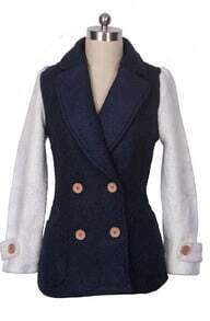 Navy Contrast Sleeve Double Breasted Winter Coat