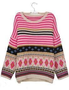 Pink Batwing Sleeve Striped Geometric Pattern Tribal Sweater