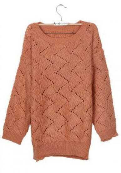 Peach Round Neck Vertical Eyelet Striped Jumper Sweater