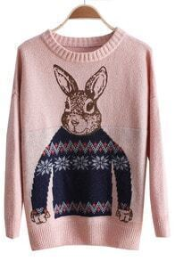 Pink Batwing Long Sleeve Rabbit Print Sweater