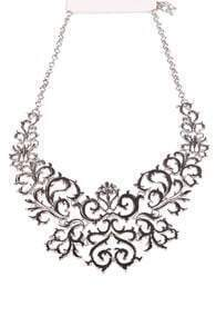 Silver Hollow Out Flowers Chain Necklace