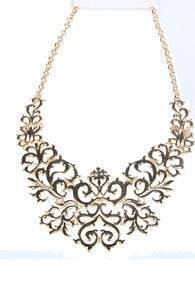 Gold Hollow Out Flowers Chain Necklace