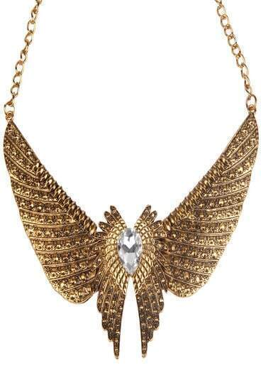Transparent Crystal Eagle Long Chain Necklace