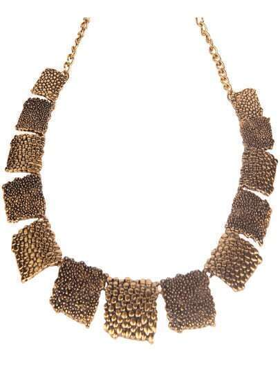 Gold Flocked Square Necklace