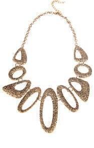 Gold Flocked Irregular Circle Necklace
