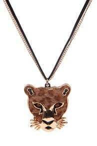 Gold Tiger Face Pendant Necklace