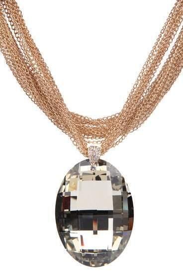 Transparent Oval Crystal Mulit-layer Chian Neckalce