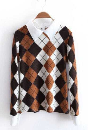Brown Contrast Lapel Long Sleeve Zipper Diaper Sweater