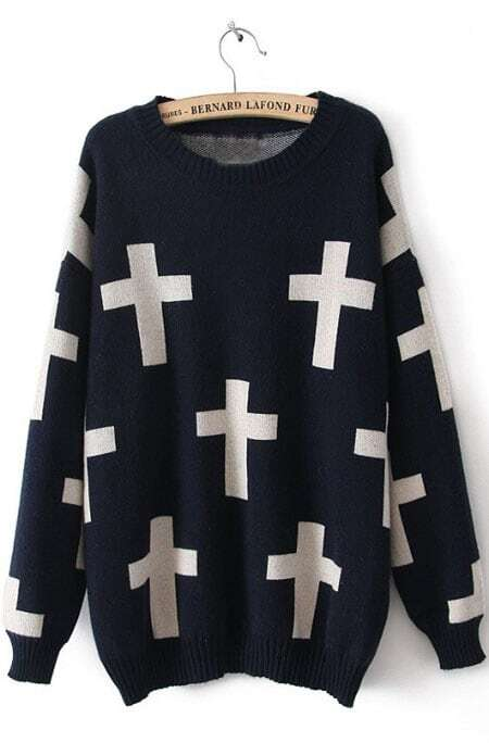 Navy Long Sleeve Cross Print Pullovers Sweater -SheIn(Sheinside)
