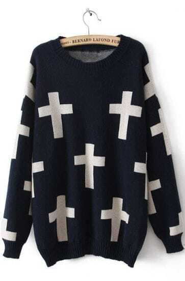Navy Long Sleeve Cross Print Pullovers Sweater