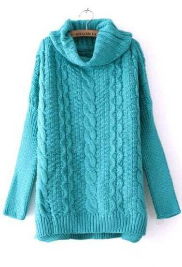 Turquoise High Neck Long Sleeve Split Sweater