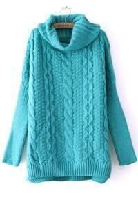 Turquoise High Neck Long Sleeve Split Sweater