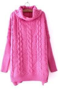 Dark Pink High Neck Long Sleeve Split Sweater