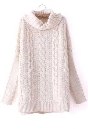 Beige High Neck Long Sleeve Split Sweater