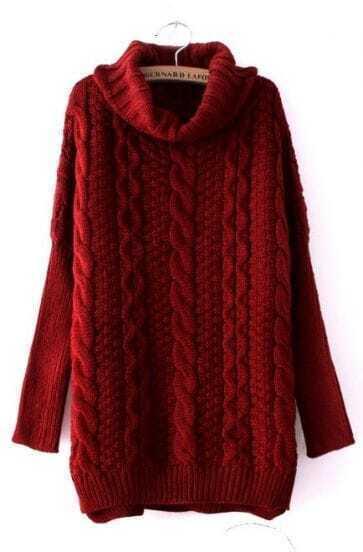 Wine Red High Neck Long Sleeve Split Sweater