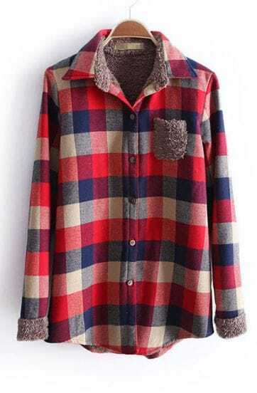 Dark Red Lapel Long Sleeve Plaid Pocket Blouse