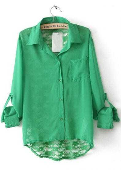 Green Lapel Long Sleeve Back Lace Hollow Blouse