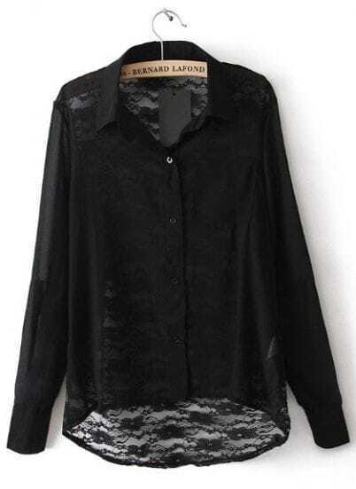 Black Lapel Long Sleeve Back Lace Hollow Blouse